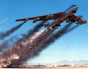 Boeing B-47B rocket-assisted take off on April 15, 1954. (U.S. Air Force photo)