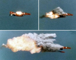 AIM-9_hitting_QF-4B_at_Point_Mugu_1974