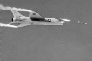 F8U-1_Crusader_fires_AIM-9B_over_China_Lake_1959